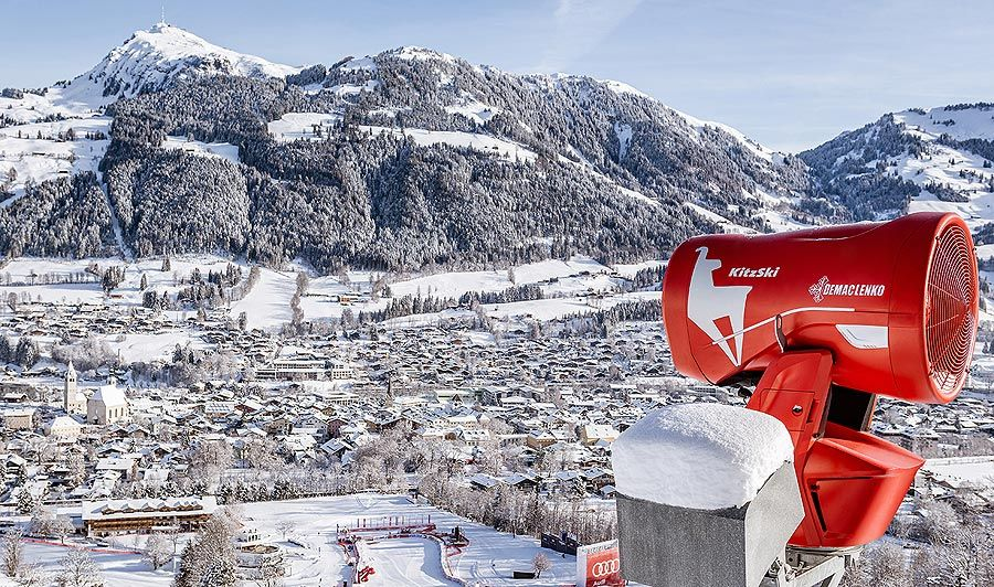 """DEMACLENKO supplies a snow gun in a special design as the """"Official Supplier of the Hahnenkamm Race"""""""